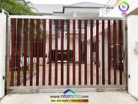 027.jpg - ประตูรั้วสแตนเลส ผสมอลูมิเนียมลายไม้ | https://thai304.com