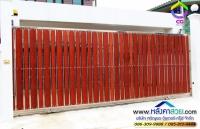 046.jpg - ประตูรั้วสแตนเลส ผสมอลูมิเนียมลายไม้ | https://thai304.com