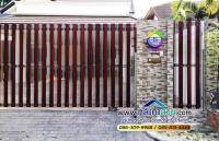 049.jpg - ประตูรั้วสแตนเลส ผสมอลูมิเนียมลายไม้ | https://thai304.com