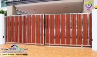 053.jpg - ประตูรั้วสแตนเลส ผสมอลูมิเนียมลายไม้ | https://thai304.com