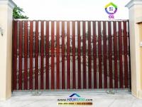 068.jpg - ประตูรั้วสแตนเลส ผสมอลูมิเนียมลายไม้ | https://thai304.com