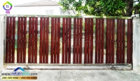 070.jpg - ประตูรั้วสแตนเลส ผสมอลูมิเนียมลายไม้ | https://thai304.com