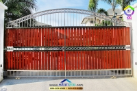 104.jpg - ประตูรั้วสแตนเลส ผสมอลูมิเนียมลายไม้ | https://thai304.com