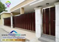 106.jpg - ประตูรั้วสแตนเลส ผสมอลูมิเนียมลายไม้ | https://thai304.com
