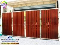 110.jpg - ประตูรั้วสแตนเลส ผสมอลูมิเนียมลายไม้ | https://thai304.com