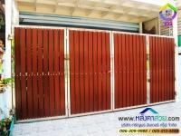 112.jpg - ประตูรั้วสแตนเลส ผสมอลูมิเนียมลายไม้ | https://thai304.com