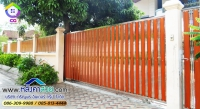 117.jpg - ประตูรั้วสแตนเลส ผสมอลูมิเนียมลายไม้ | https://thai304.com