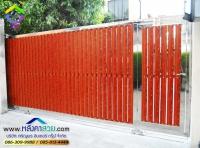 128.jpg - ประตูรั้วสแตนเลส ผสมอลูมิเนียมลายไม้ | https://thai304.com